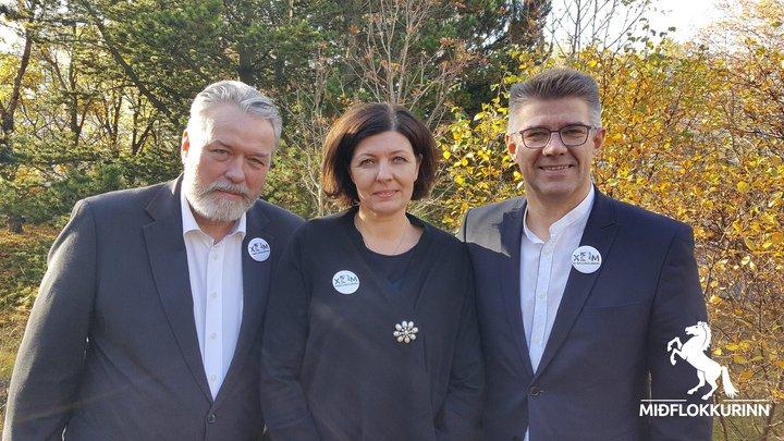 Oddvitar Miðflokksins á höfuðborgarsvæðinu. Þorsteinn Sæmundsson, Guðfinna Jóhanna Guðmundsdóttir og Gunnar Bragi Sveinsson.
