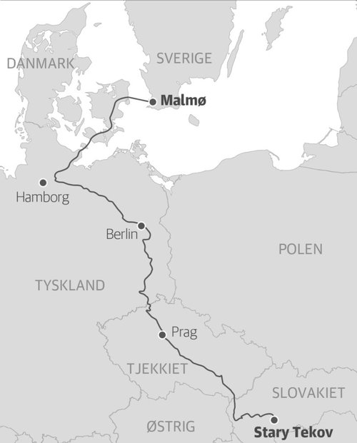 Ferðalagið frá Slóvakíu til Malmö.