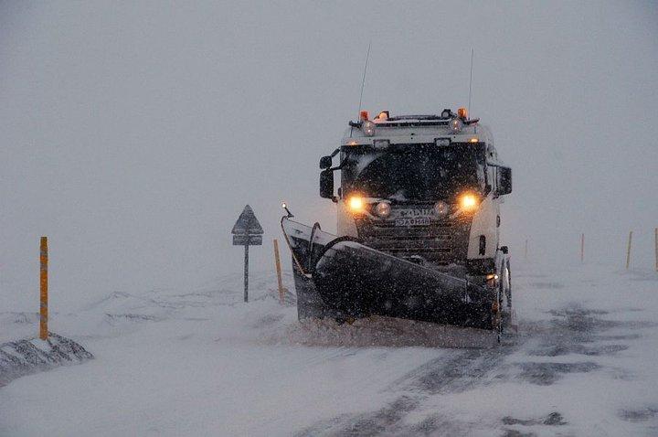 Snjómoksturbíll að störfum Mynd: Vegagerðin