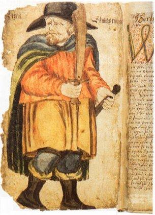 Egill Skallagrímsson, teiknaður á 18. öld. Mynd: Wiki Commons