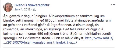 Stöðuuppfærsla Svandísar Svavarsdóttur á Facebook 4. júlí 2013.
