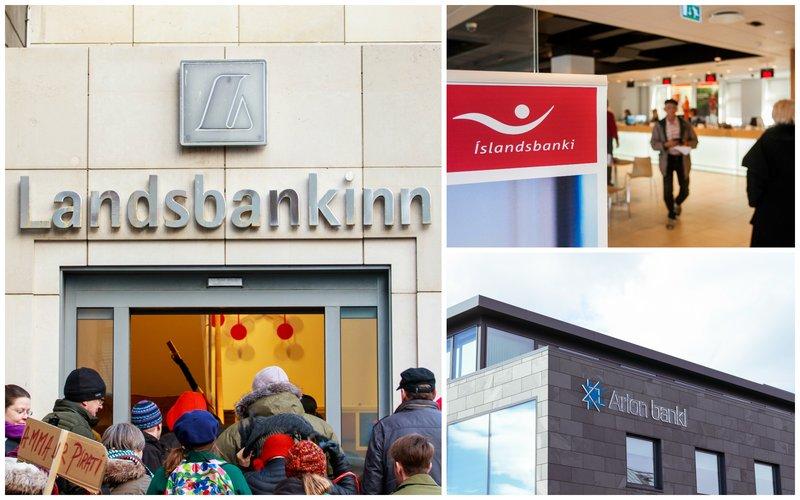 Ríkið á 98,2 prósent í Landsbankanum, Íslandsbanka að fullu og 13 prósent í Arion banka.