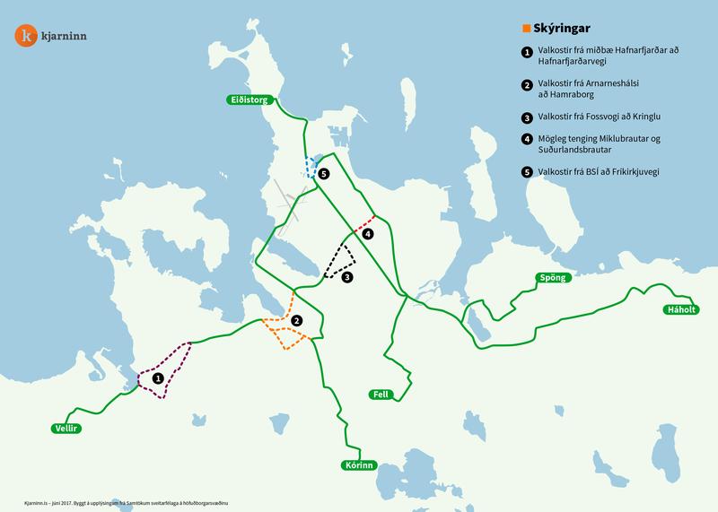 Borgarlínan mun liggja eftir þessum ásum á höfuðborgarsvæðinu.