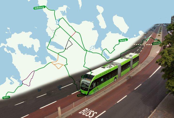 Borgarlína Malmö kort grafík