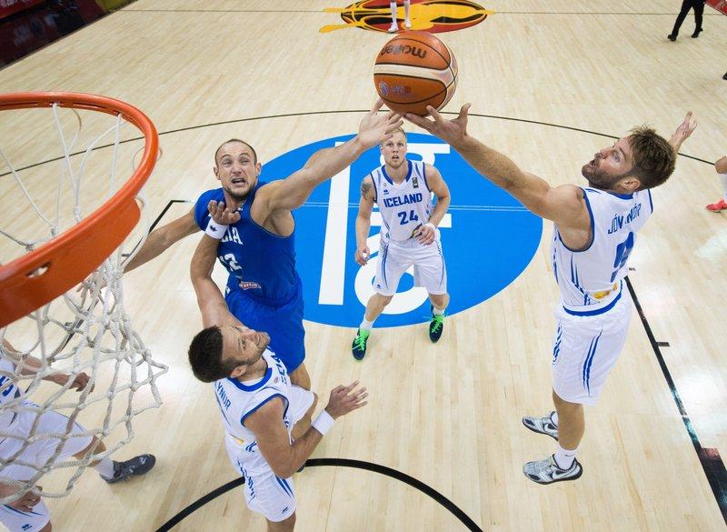 Ísland í EuroBasket (Mynd: EPA)