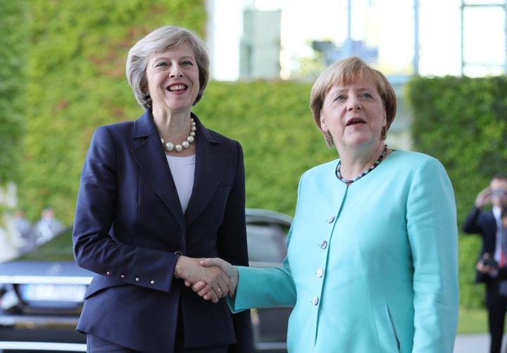Theresa May og Angela Merkel.