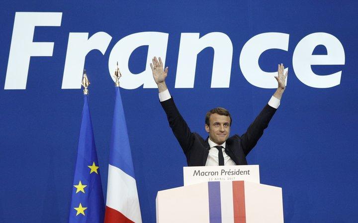 Emmanuel Macron á kosningafundi.