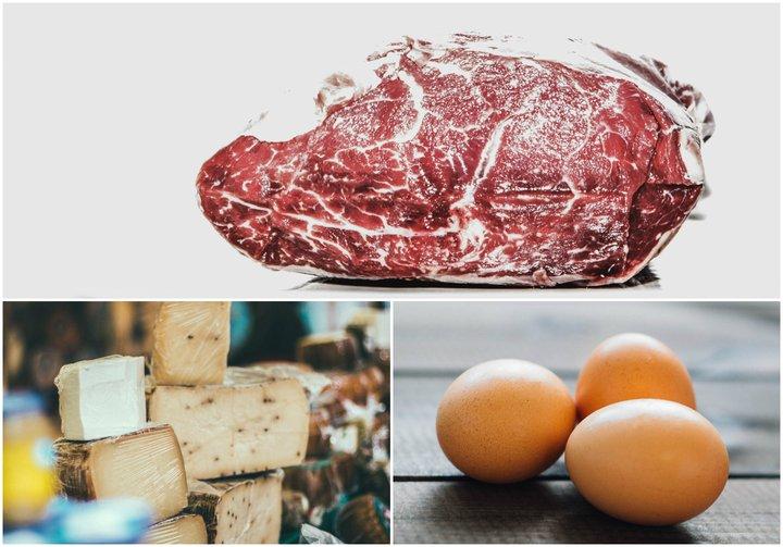 Kjöt, ostur og egg.