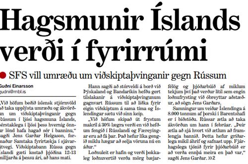 Forsíðufrétt Morgunblaðsins 4. janúar 2016.