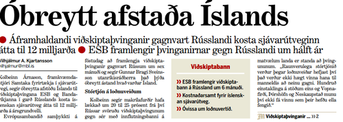 Forsíðufrétt Morgunblaðsins 22. desember 2015.
