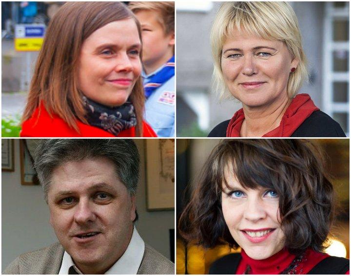 Katrín Jakobsdóttir, Oddný Harðardóttir, Benedikt Jóhannesson og Birgitta Jónsdóttir