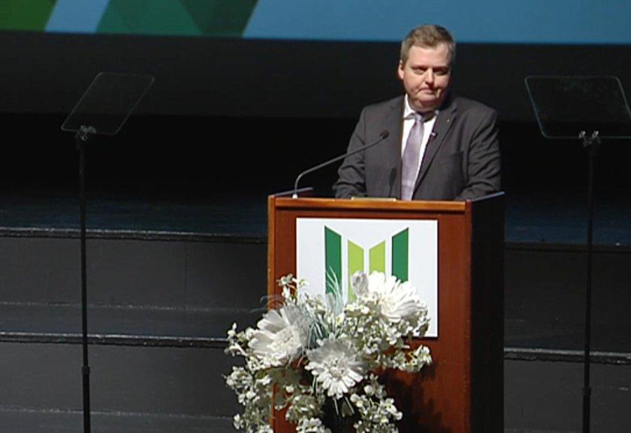 Sigmundur Davíð Gunnlaugsson á flokksþingi Framsóknarflokksins í október 2016. Þar tapaði hann í formannskosningum fyrir Sigurði Inga Jóhannssyni.