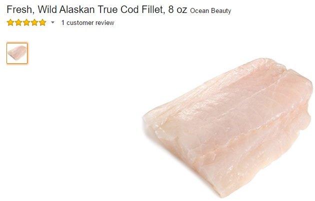 Þorskur til sölu í netverslun Amazon Fresh, sem er mest ört vaxandi ferskuvöruverlsun heims.